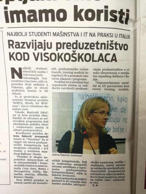 Rebus in daily newspaper Montenegro